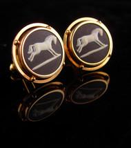 Vintage Wedgwood Cufflinks -gold filled set - gambler gift - horse racin... - $185.00