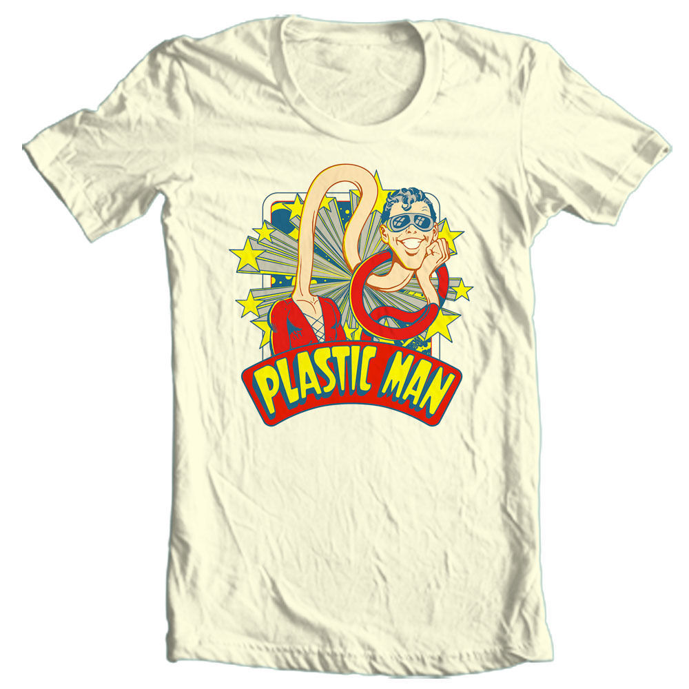 Plastic man t shirt prankster saturday morning cartoon dc super hero tee dco670 retro