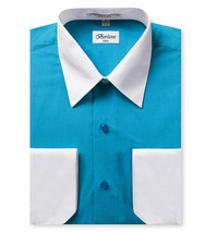 Berlioni Italy Men's Classic White Collar & Cuffs Two Tone Dress Shirt - XL