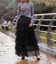 Pink Layered Tulle Midi Skirt High Waisted Layered Tulle Ruffle Skirt Custom image 8