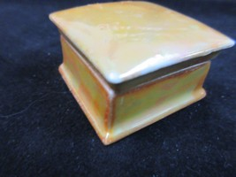 VTG O & EG Royal Austria Orange Luster Pill Box Porcelain Square Non-Hin... - $24.09