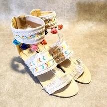 Chase & Chloe Womens Cayne Sz 8 M Tan Fringe Geometric Ankle Strap Zip Sandal - $24.99