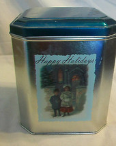 DECORATIVE METAL TIN, HAPPY HOLIDAYS, CHILDREN IN WINTER CLOTHING - $11.13