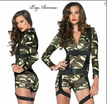 Women's Goin Commando Army Camouflage Halloween Costume Romper Harness M... - $24.95