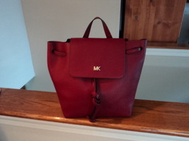 8229ccffd72a Authentic Michael Kors Junie Medium Flap Backpack Maroon Pebbled Leather...  -  169.99