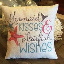 Mermaid Pillow, nautical, coastal summer decor, ocean, beach house, mermaid kiss - $20.00