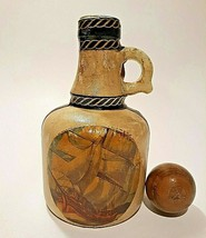 Fausto Couduri Italian Leather Wrapped Decanter Bottle Tall Ships Vintag... - $19.77