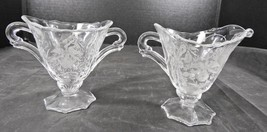 Elegant Glass Era Heisey Helmet Creamer and Sugar * Orchid Pattern - $6.65