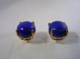 LAPIS CABOCHON EARRINGS SET IN 14KT GOLD BASKET SETTINGS  8MM ROUND - $186.96