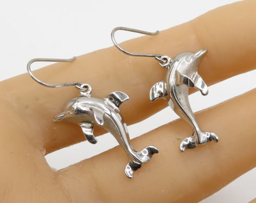 Primary image for 925 Sterling Silver - Vintage Carved Dolphin Drop Earrings - E1883