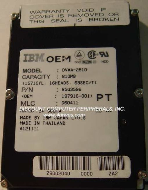 IBM DVAA-2810 810MB 2.5IN 17MM IDE Drive Free USA Shipping Our Drives Work