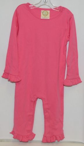 Blanks Boutique Long Sleeve Snap Up Pink Ruffle Romper Size 2T