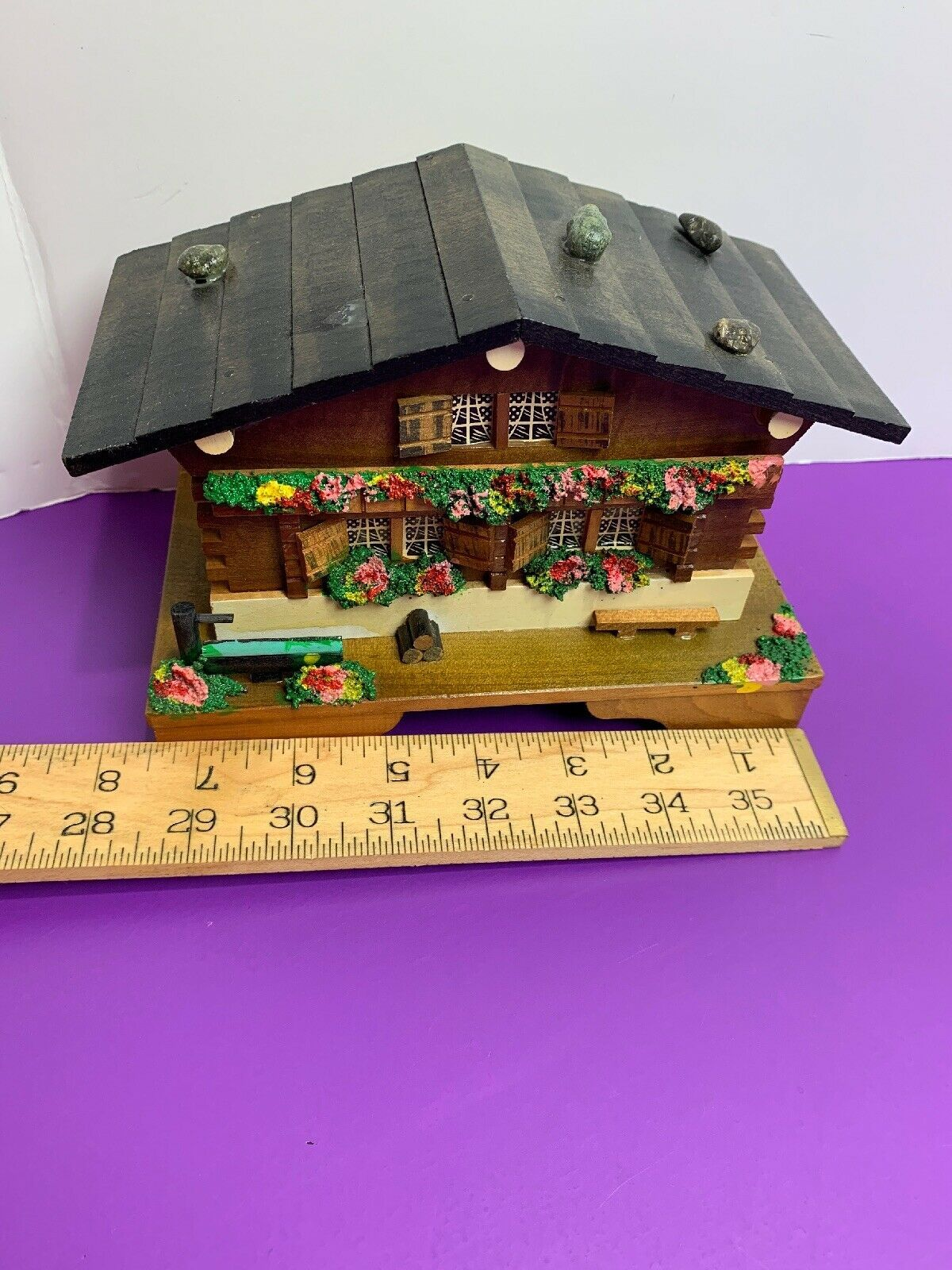 Vintage Wooden Chalet Japan Music Jewelry Box Flowers Well on Porch Rocks Roof