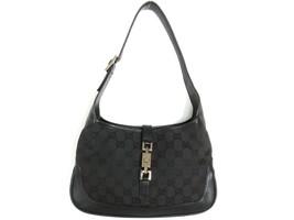 Authentic GUCCI Original GG Canvas Leather Black Jackie Shoulder Bag Purse - $148.15