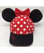 Disney Parks Minnie Mouse Ear Polka Dot Bow Baseball Cap/Hat Youth Size - $12.67