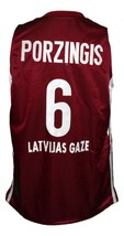Kristaps Porzingis Team Latvija Basketball Jersey New Sewn Maroon Any Size image 4
