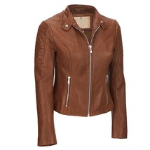Padded Shoulder Front Zipped  Women's Genuine Lambskin Leather Racer Jacket - $149.00