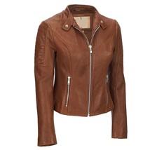 Padded Shoulder Front Zipped  Women's Genuine Lambskin Leather Racer Jacket - $149.00