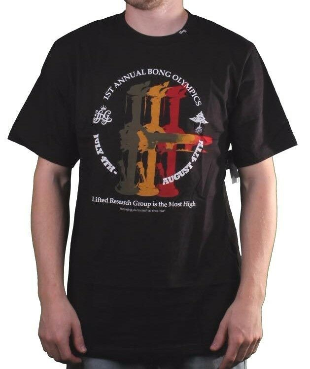 LRG Mens Black Most High 1st Annual Bong Olympics Smoking Weed T-Shirt NWT