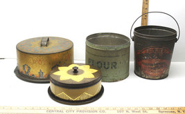 4 pc Vintage Collectible Tins Red Brand Pure Lard Bucket+Flour Tin+Cake ... - $42.06