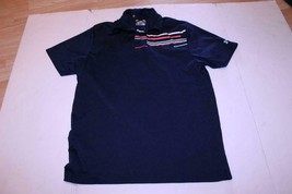 Men's Under Armour L Navy Blue Collared Short Sleeve Polo Shirt - $14.01