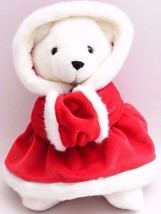 "Fiesta Christmas Bear Plush 10"" White Teddy Red Hooded Coat Holiday Hand... - $11.61"