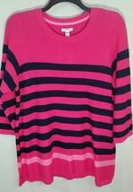 Croft & Barrow Textured Tunic Sweater Plus Size 2X Pink Navy Stripe NWT $44 - $19.99