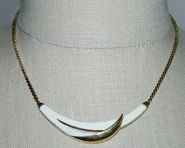 Vtg 1950's Crown Trifari Off-White Enamel Choker Necklace - $39.60