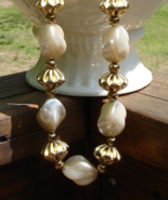 Huge Faux Baroque Pearl and Gold Bauble Necklace - $50.00