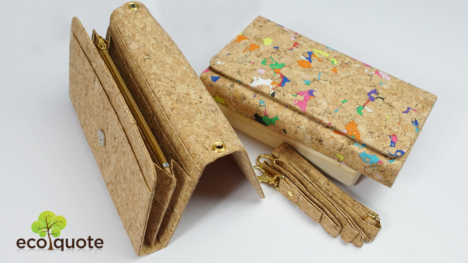 EcoQuote Long Wallet 3 Ways Use Handmade Cork Eco Friendly Material for Vegan