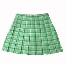 Women Girls Green Plaid Skirt Plus Size Pleated Plaid Skirt Pleated Tennis Skirt image 7
