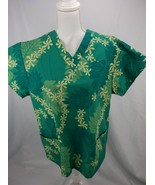 LOCAL DESIGN WOMENS HAWAIIAN SCRUB TOP szS GREEN W/ LEAF AND FLOWER PATT... - £13.33 GBP