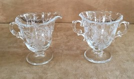 Fostoria Heather Footed Creamer and open sugar bowl handled Etched vintage glass - $13.65