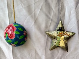 2 pc pack Christmas tree hanging decoration ornament paper mache ball star - $27.27