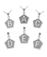 Sterling Silver Letter Initial Pentagon Pendant Necklace - $19.99+