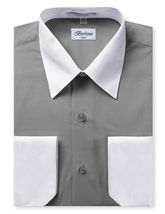 Berlioni Italy Men's Premium Classic White Collar & Cuffs Two Tone Dress Shirt image 5