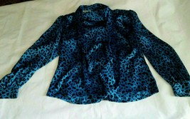 Vintage I. Magnin & Co size 14 Blue 100% Silk Cheetah Print Blouse Scarf... - $69.25