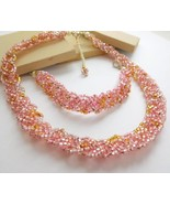 Retro Pastel Pink Amber Clear Glass Bead Braid Choker Necklace Bracelet ... - $12.99