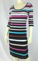 Betsey Johnson Dress 8 Striped Poly Stretch Knit Bodycon Pullover 3/4 sleeve - $88.11