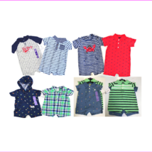 Carters Baby Boy' 2Piece Short Sleeve striped 3button placket hooded Rompers Se - $8.54 - $10.40