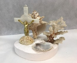 Vintage Catholic Rosary Holder Christian Crucifiction Seashells Beach - $23.38