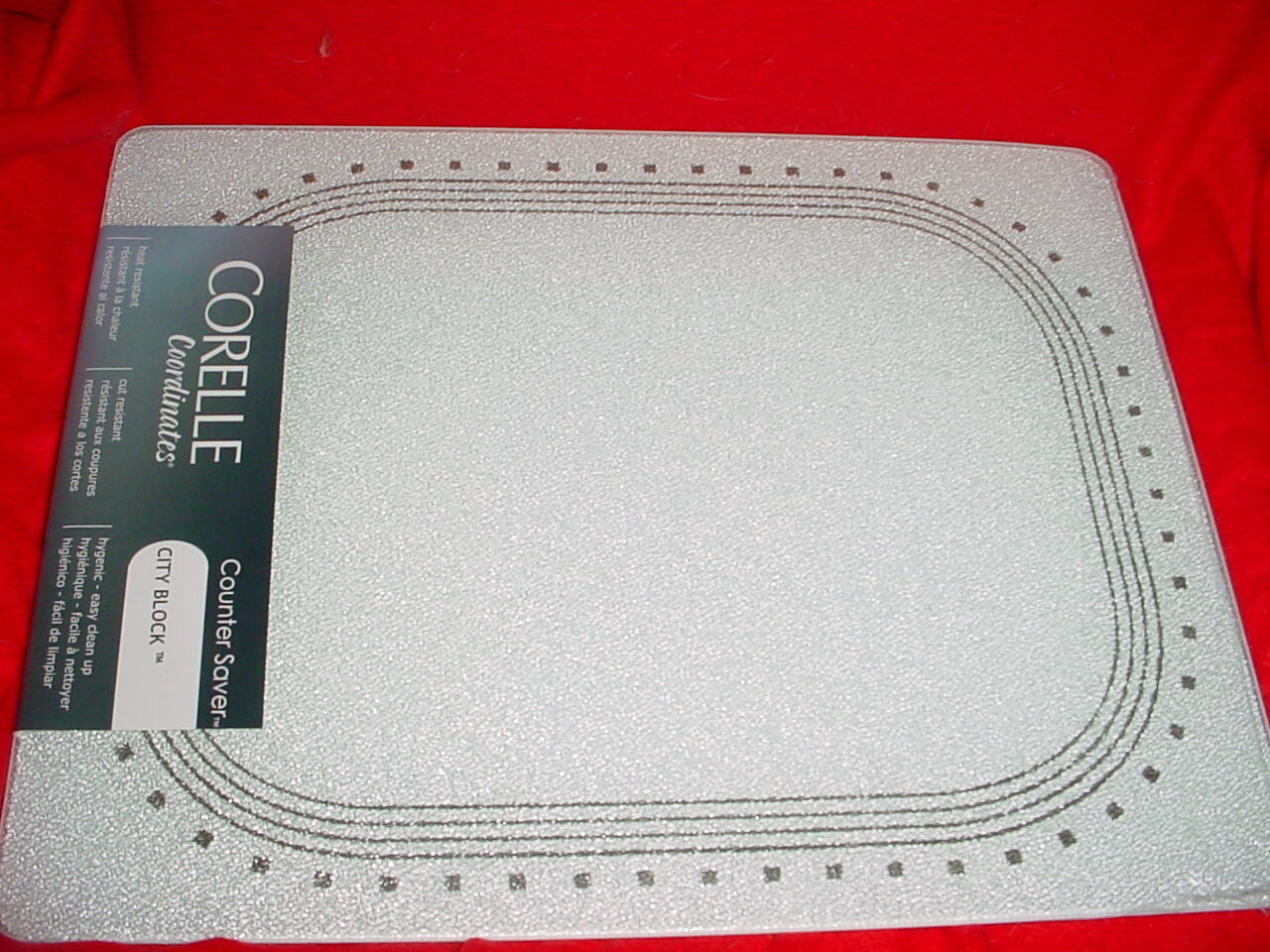 Primary image for CORELLE CITY BLOCK COUNTER SAVER GLASS CUTTING BOARD 12x15 INCH NEW FREE SHIP US