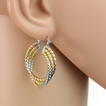 Contemporary Twisted Tri-Color Silver, Gold Hoop Earrings- United Elegance - $16.99