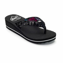 NWT Juicy Couture Low Heel Platform Flip Flops Sandals Shoes - Black - $34.95