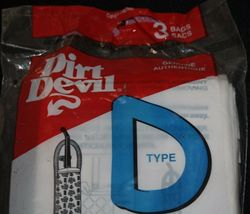 Dirt Devil Type D Vacuum Cleaner Bags Package contains 3 bags NIP New Upright image 3