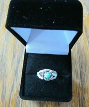 Vintage Turquoise Flower Signed STERLING Silver Southwest Ring - $38.70