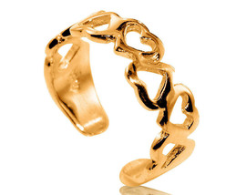 10K Solid Yellow GOLD Hearts Toe Ring - $79.65