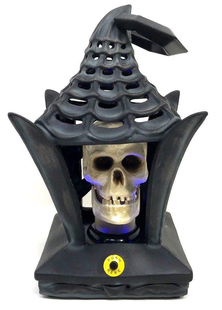Halloween Haunted House Lights & Animated Lantern Skeleton Skull Prop No Sound