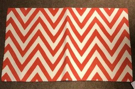 Pottery Barn Chevron Lumbar Pillow Cover Orange 16x26L Crewel Embroidere... - $49.50