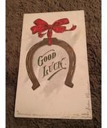 Vintage Postcard Posted 1907 Greetings Good Luck Horseshoe - $0.94